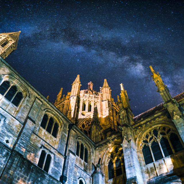 """""""Milky Way over Ely Cathedral, Cambridgeshire UK."""" stock image"""
