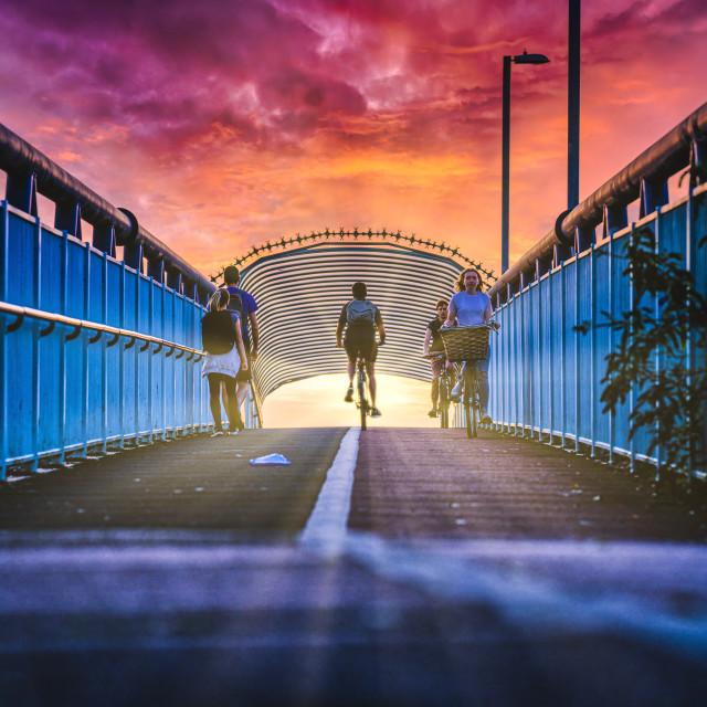 """""""Cycle Bridge from Coldhams Lane, Cambridge UK."""" stock image"""