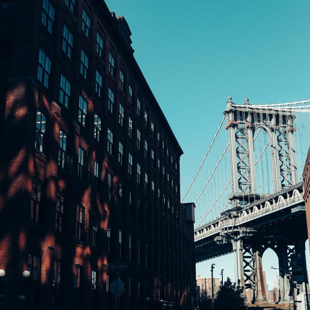 """""""New York DUMBO and Manhattan bridge"""" stock image"""