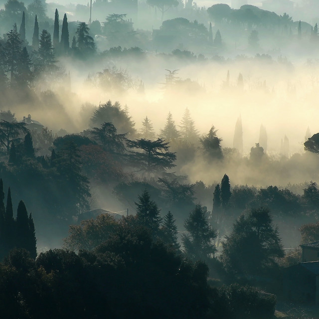 """""""Sant'Angelo in the morning mist"""" stock image"""