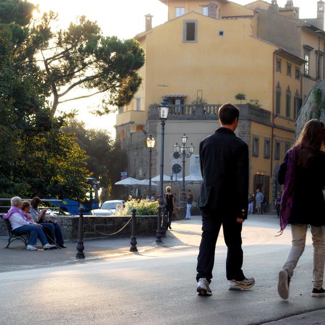 """""""La Passeggiata a Cortona, Tuscany"""" stock image"""
