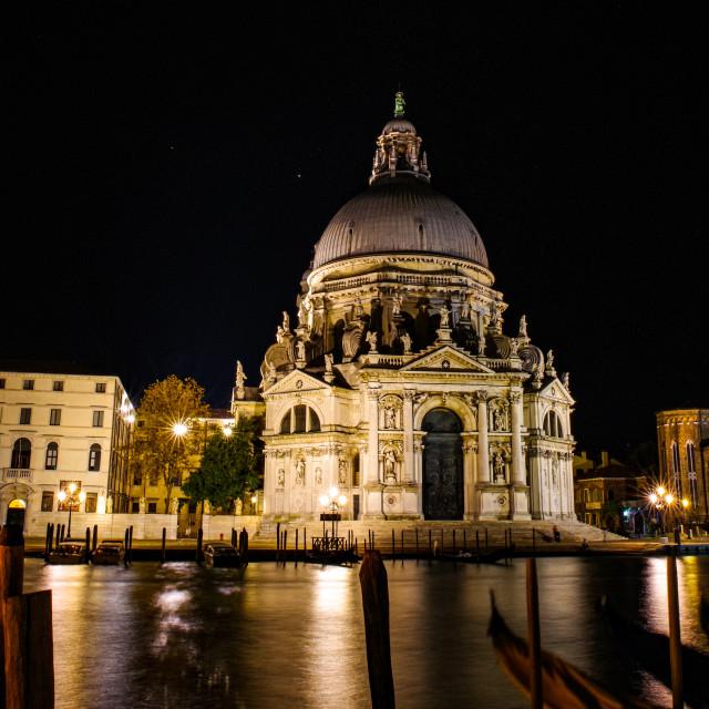"""""""Santa Maria della Salute by night"""" stock image"""