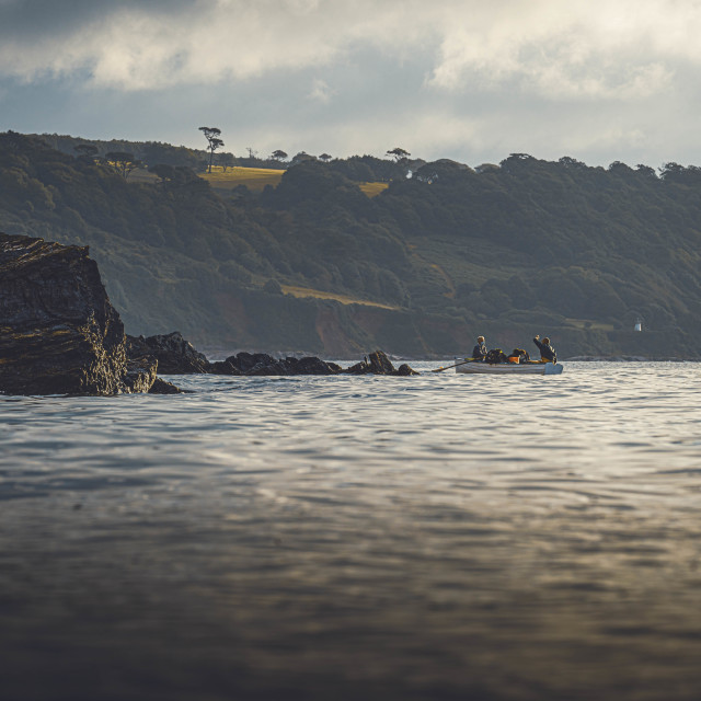 """""""Early Morning Sea Mist over Cawsand Bay, Cornwall UK."""" stock image"""