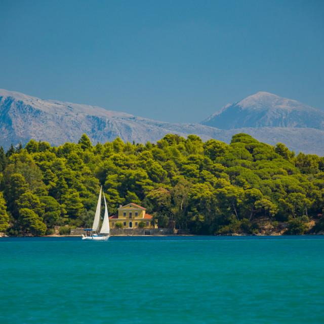 """""""Saiing ship in the bay of Nidri"""" stock image"""