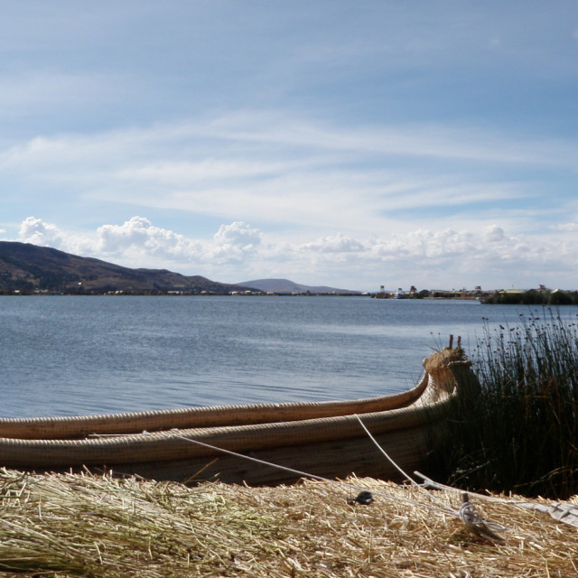 """""""reed boat on Lake Titicaca"""" stock image"""