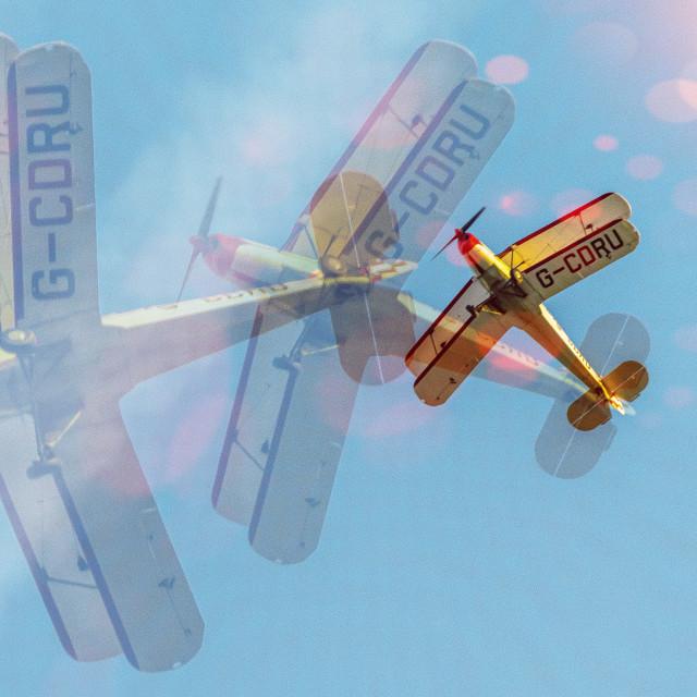 """Biplane Tripple Exposure"" stock image"
