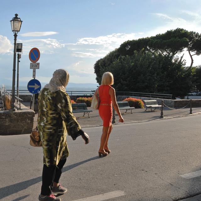 """La Passeggiata a Cortona, Tuscany (v.2)"" stock image"