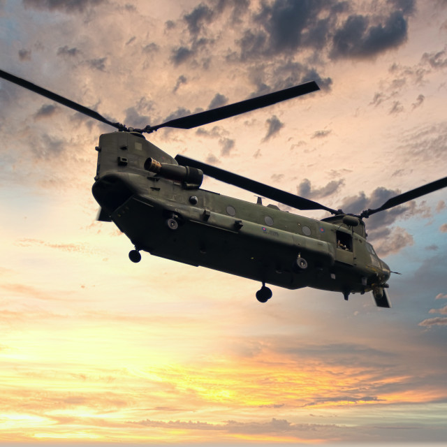 """""""Chinook against Sunset"""" stock image"""