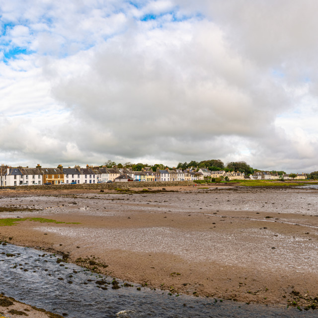 """""""anorama of the town and harbour at low tide, Dumfries & Galloway, Scotland"""" stock image"""