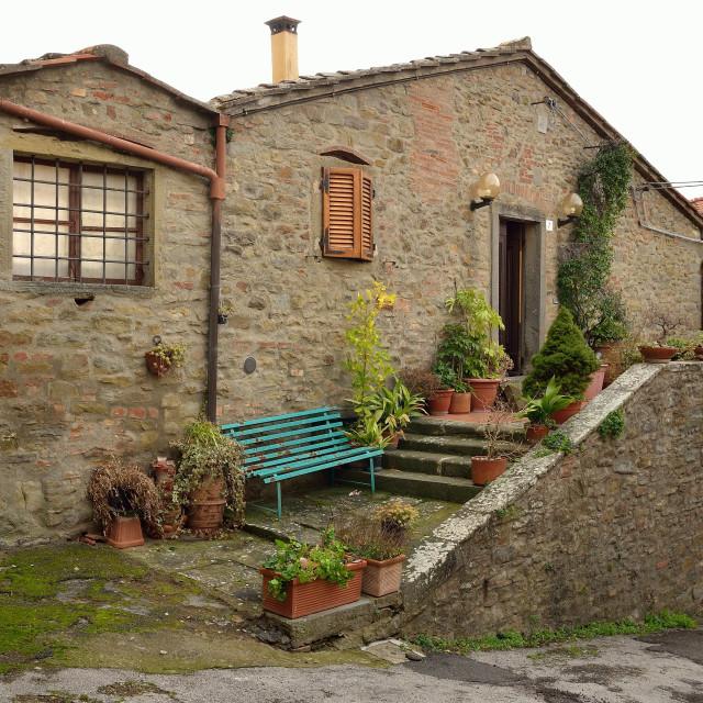 """A quaint cottage in Cortona"" stock image"