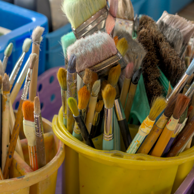 """used paint brushes"" stock image"
