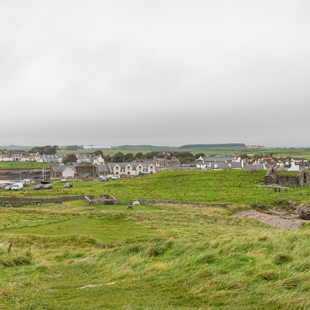 """""""View of the town and harbour of Isle of Whithorn, Isle of Whithorn, Dumfries & Galloway, Scotland"""" stock image"""