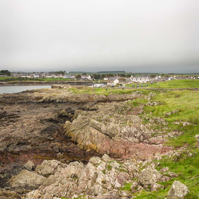 """""""View of the Coastline, town and harbour of Isle of Whithorn, Isle of Whithorn, Dumfries & Galloway, Scotland"""" stock image"""
