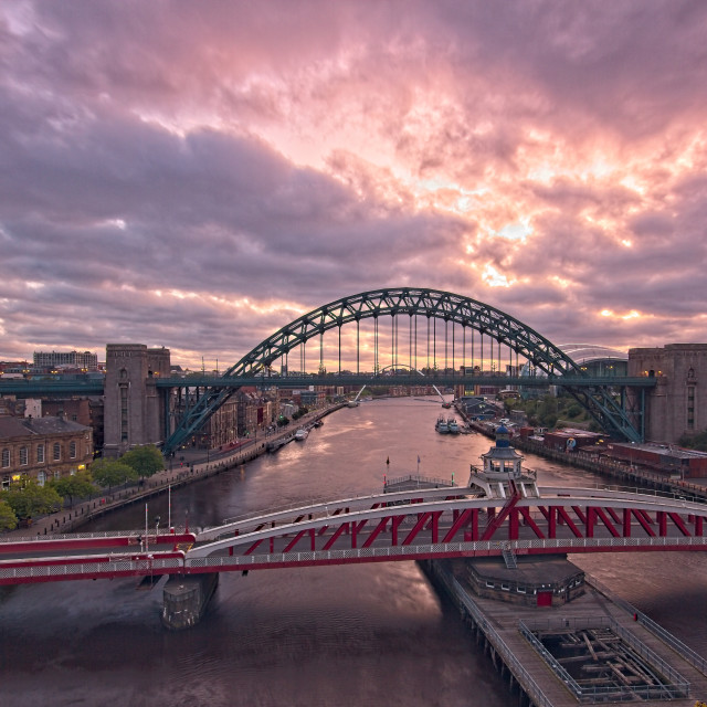 """Newcastle Tyne Bridges at Dawn"" stock image"