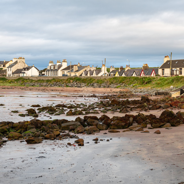 """""""View of village from Beach , Port Lagon, Dumfries & Galloway, Scotland"""" stock image"""