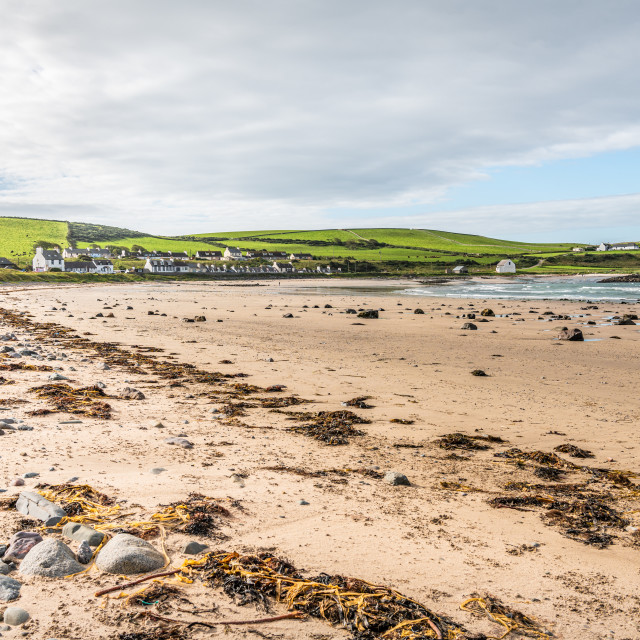 """""""Port Lagon, Dumfries & Galloway, Scotland - Sep 8 2020; Port Lagon and Harbour wall from the rocky foreshore"""" stock image"""