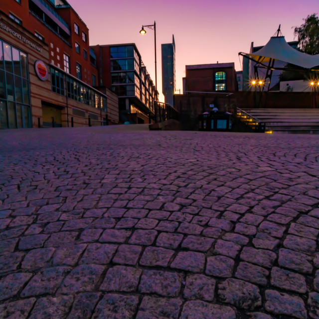 """Sunrise At Castlefield Bowl Featuring Beetham Tower - Manchester, UK"" stock image"