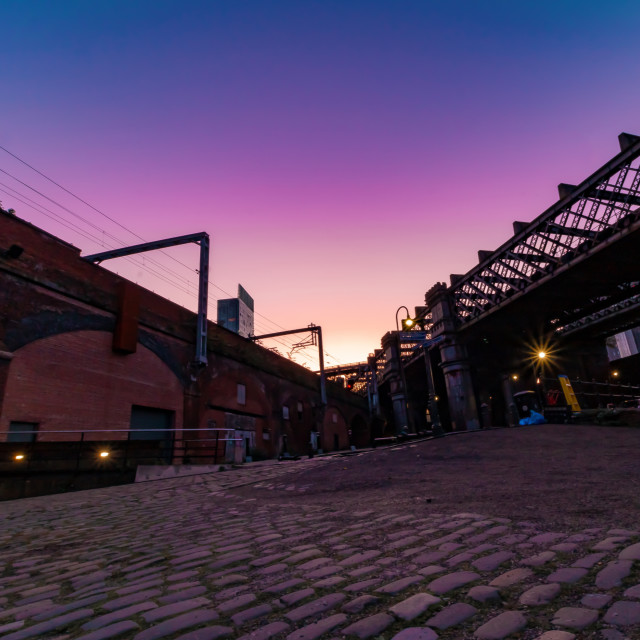 """Sunrise In Castlefield With The Beethan Tower - Manchester, UK"" stock image"