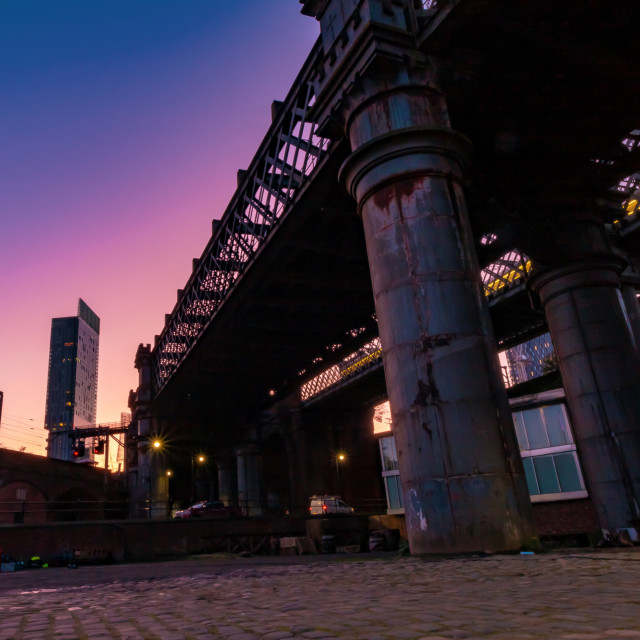 """Sunrise In Castlefield With The Beetham Tower - Manchester, UK"" stock image"