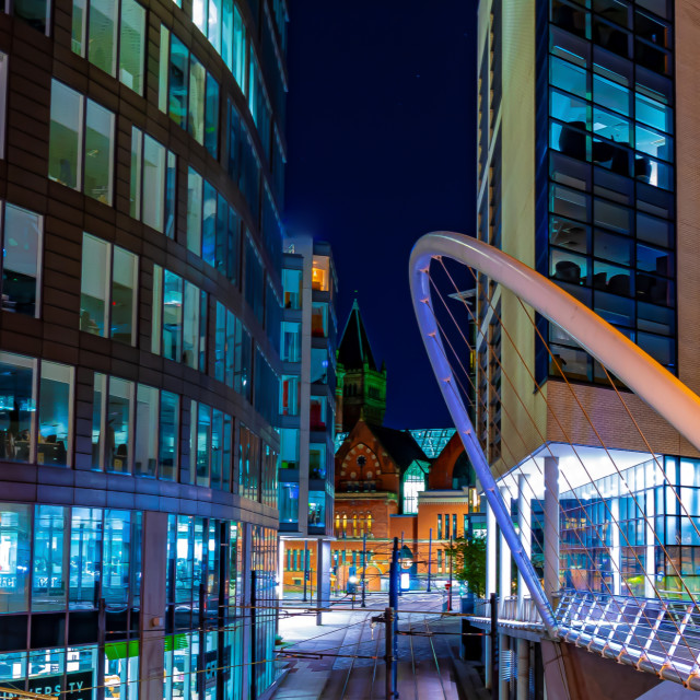 """Bridge Leading Away From Piccadilly Train Station During The Night - Manchester, UK"" stock image"