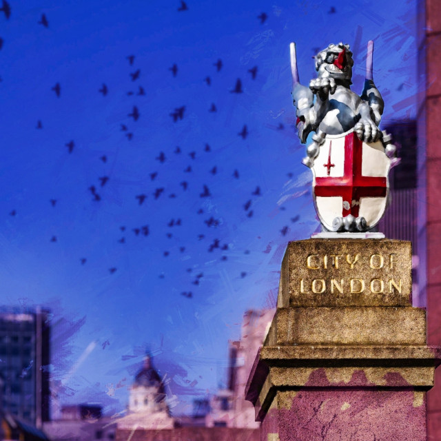 """""""City of London in Watercolour."""" stock image"""