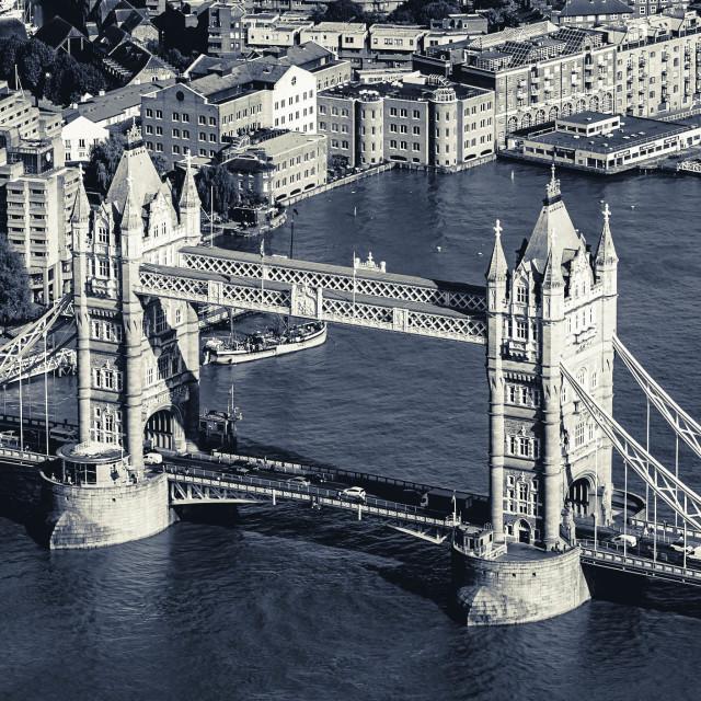 """""""London Bridge in Black & White."""" stock image"""