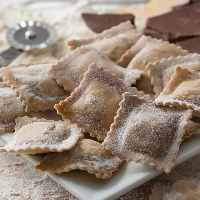 """Homemade Italian ravioli stuffed with sweet chocolate."" stock image"