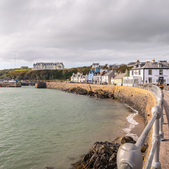 """""""View of the town and the promenade, Port Patrick, Dumfries & Galloway, Scotland"""" stock image"""