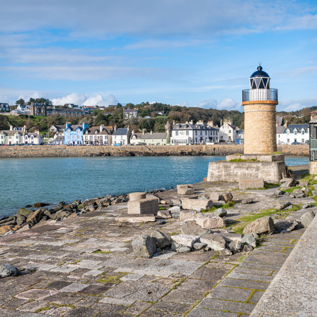"""""""Port Patrick, Dumfries & Galloway, Scotland - Sep 9 2020; Light tower in Port Patrick Harbour"""" stock image"""