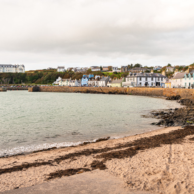 """""""View of the town and the beach, Port Patrick, Dumfries & Galloway, Scotland"""" stock image"""