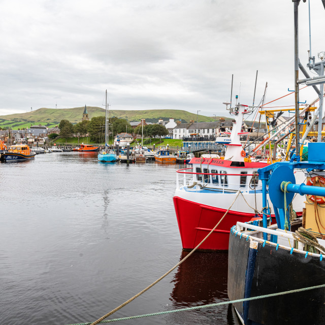 """""""Fishing Boats in the Harbour, Girvan, Dumfries & Galloway, Scotland"""" stock image"""