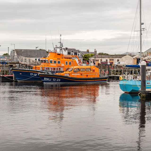 """""""RNLI Life Boats in the Harbour, Girvan, Dumfries & Galloway, Scotland"""" stock image"""