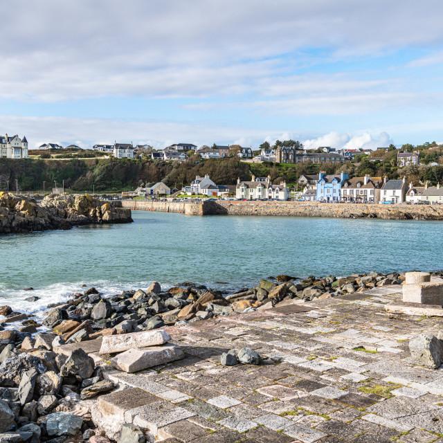 """Port Patrick Harbour and Harbour, Port Patrick, Dumfries & Galloway, Scotland"" stock image"