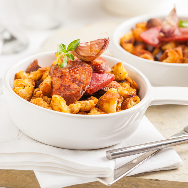 """Spanish migas dish made with chorizo, garlic and bread crumbs"" stock image"