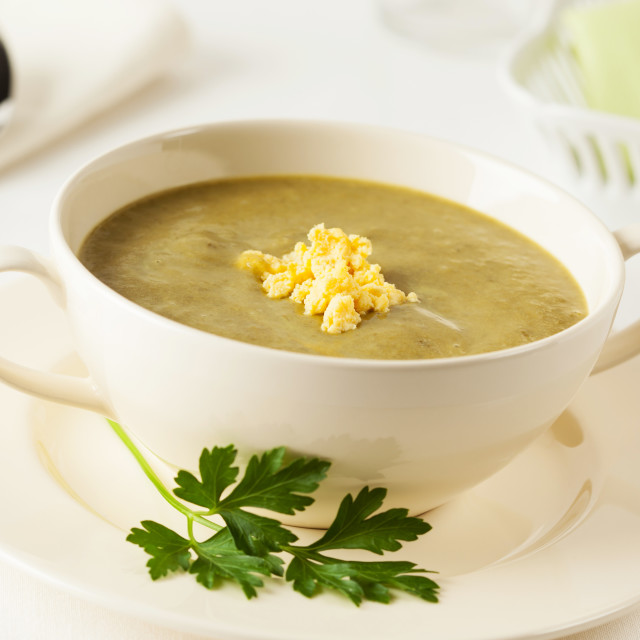 """Homemade fresh spinach cream soup in a bowl"" stock image"