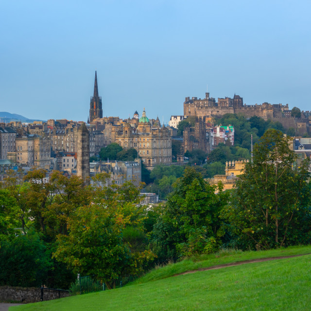 """Edinburgh Castle Panorama At Dawn"" stock image"