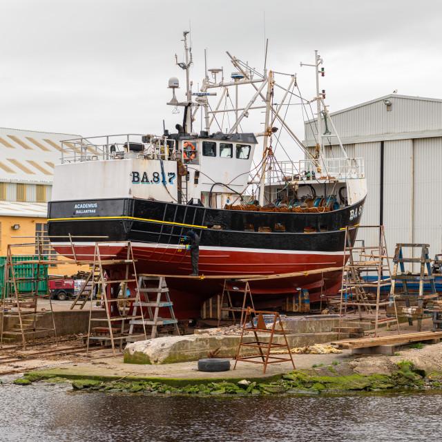 """""""Fishing Boat undergoing Repairs, Girvan, Dumfries & Galloway, Scotland"""" stock image"""