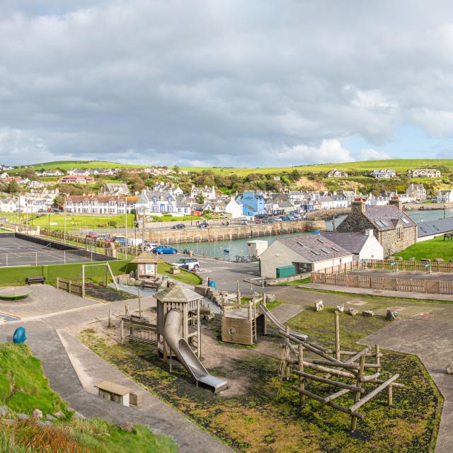 """Panorama of Port Patrick Harbour and Coastline, Port Patrick, Dumfries & Galloway, Scotland"" stock image"