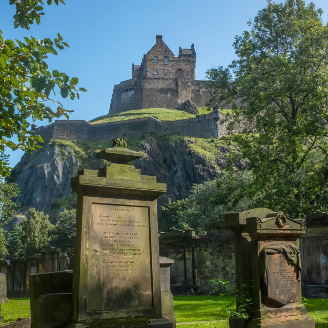 """Edinburgh Castle And Ancient Cemetery"" stock image"