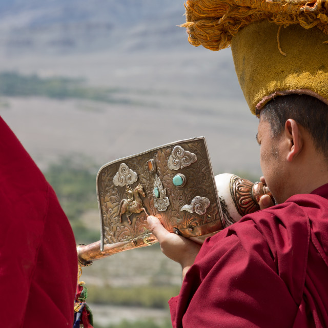 """Monk playing the Tibetan conch sell drum in Thikse Monastery"" stock image"