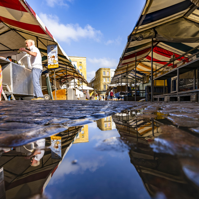 """""""Reflections from Cambridge Market Square."""" stock image"""