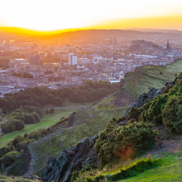 """Edinburgh Cityscape At Sunset"" stock image"