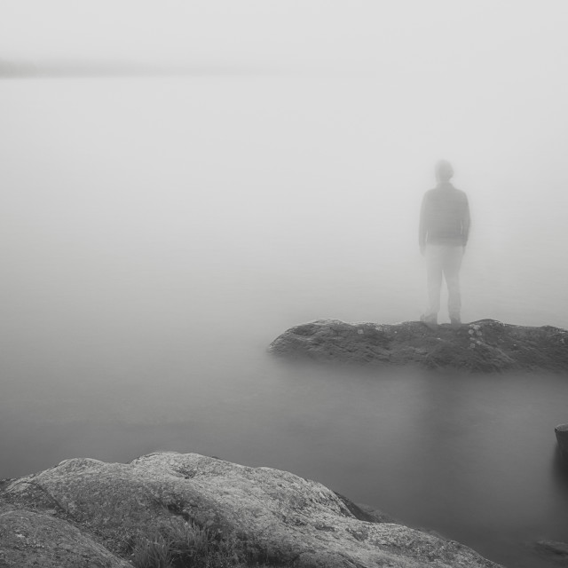 """Standing Still II (The Man In A Mist)"" stock image"