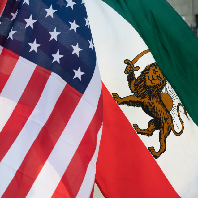 """""""American and Iranian """"Lion and Sun"""" Flags Fly in Frienship"""" stock image"""