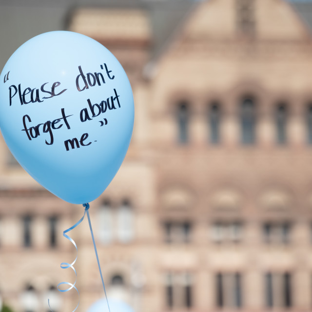 """Symbolic Blue Balloon at Anti-Pedophilia Protest"" stock image"