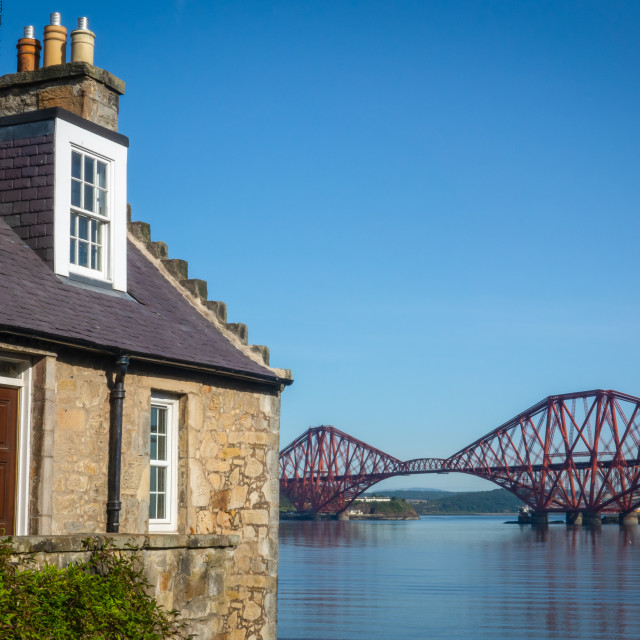 """Rural Home With The Forth Bridge Behind"" stock image"