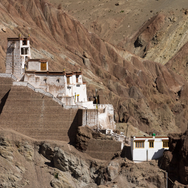 """The fortress monastery high above the Basgo village, Ladakh"" stock image"