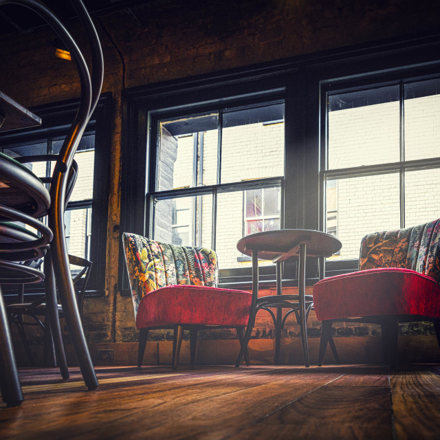 """""""Floor level from Town and Gown Restaurant & Theatre Cambridge UK."""" stock image"""