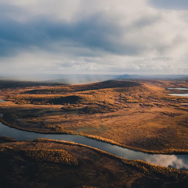 """Rainy Fjell landscape"" stock image"
