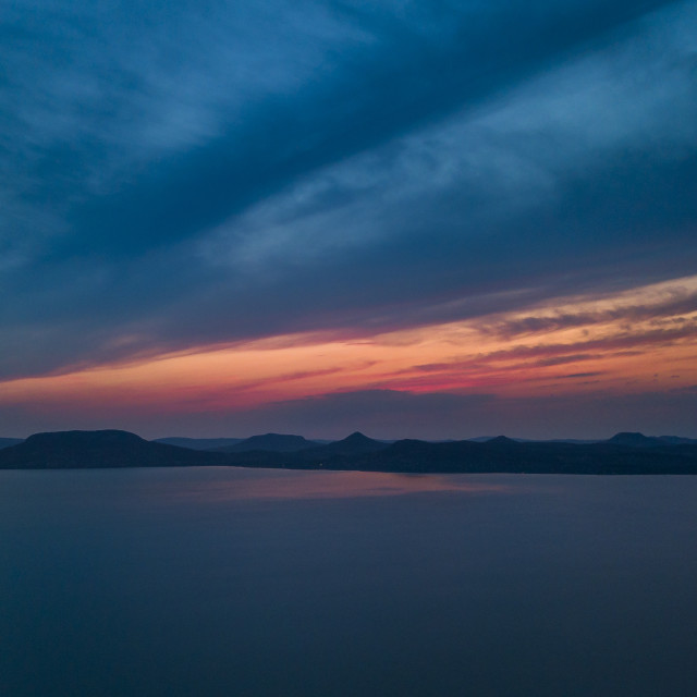 """Sunset from above Lake Balaton"" stock image"